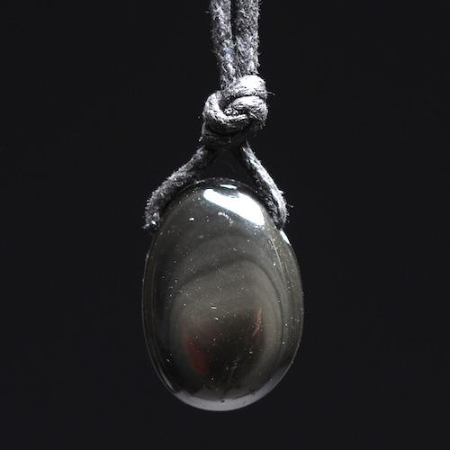 Regenboog obsidiaan hanger doorboord