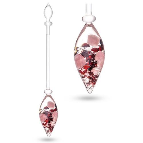 VitaJuwel Love houder met edelstenen rozenkwarts, granaat en bergkristal
