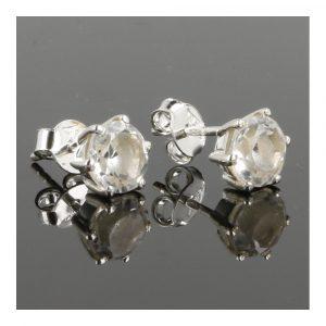 Bergkristal Oorbel In Zilver Facet Geslepen